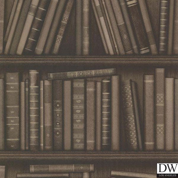 Atheneum Brown Antique Books Wallpaper