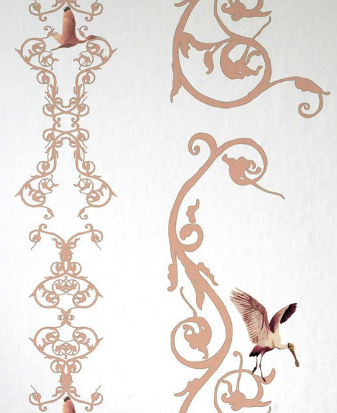 Flamingo Chiroscuro - Old Rose Wallpaper Wallcovering