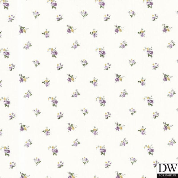 Debbie Purple Small Rose Toss Wallpaper