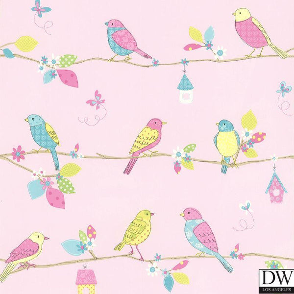 Social Birdie Pink Quilted Birds Wallpaper