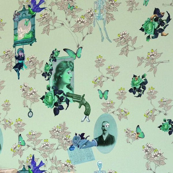 Wings and Pistols Wallpaper Wallcovering - Greens