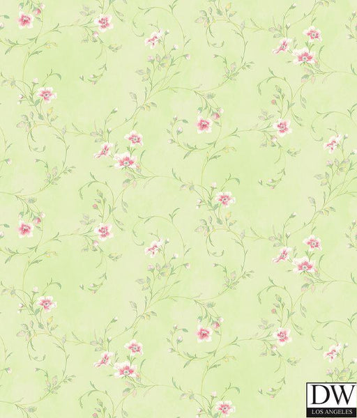 Capri Mint Floral Scroll Wallpaper