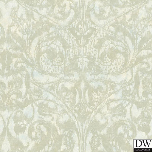 Amity Champagne Bleeding Heart Scroll Wallpaper