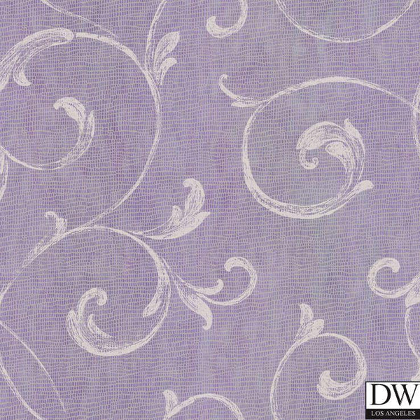 Gibby Purple Leafy Scroll Wallpaper Wallpaper