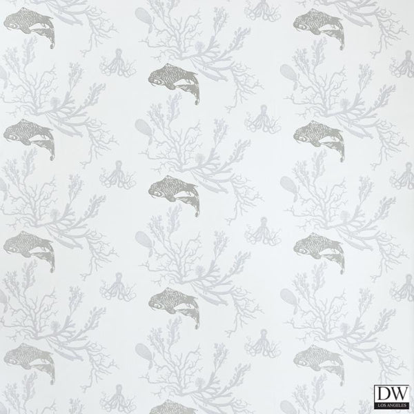 Coral Coy Fish Wallpaper -Pale Grey Silver