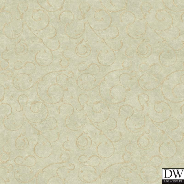 Shin Moss Golden Scroll Texture Wallpaper