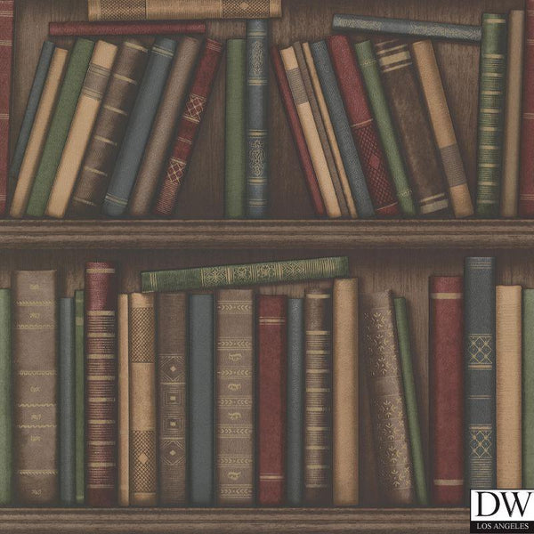 Atheneum Burgundy Antique Books Wallpaper