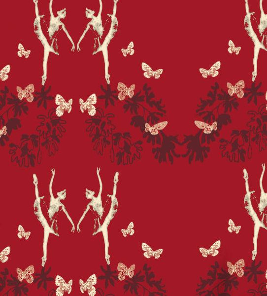 Ballet Bower - Red Wallpaper Wallcovering