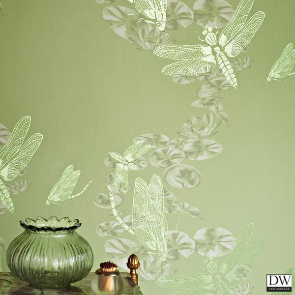 Dragon Flies Wallpaper - Green