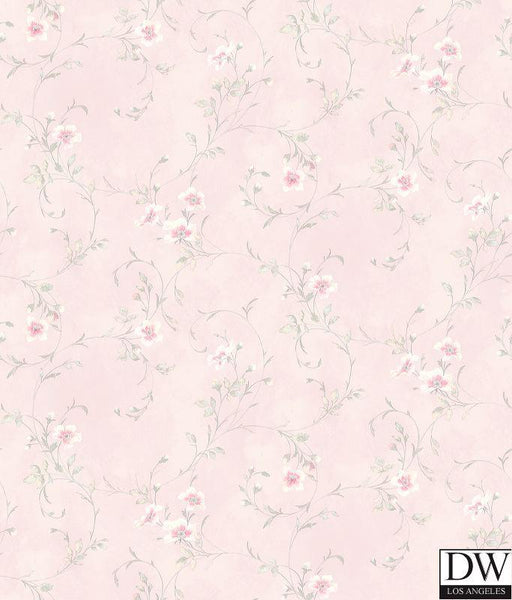 Capri Light Pink Floral Scroll Wallpaper