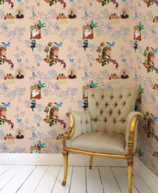 Wings and Pistols Wallpaper Wallcovering - Fiber beige