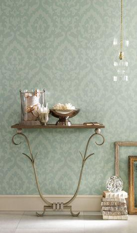 Pearl Pin Stripe Damask Wallpaper