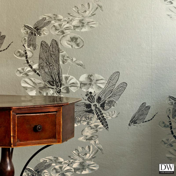 Dragon Flies Wallpaper - Pewter