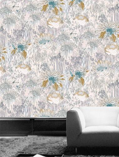 Flower Power - Pastel Pattern Printed Wallpaper- Blue