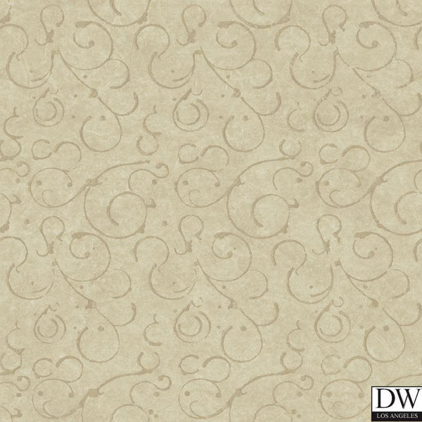 Shin Bronze Golden Scroll Texture Wallpaper