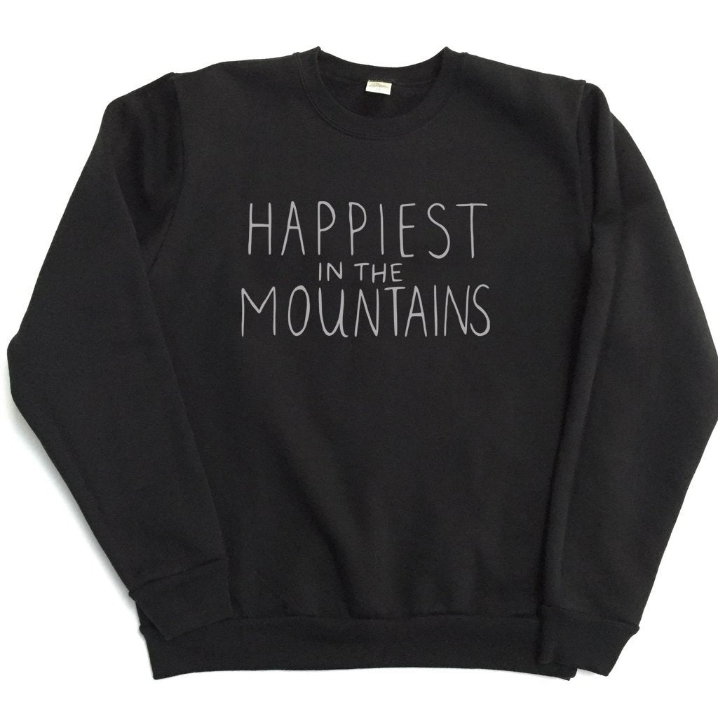Happiest in the Mountains - TODDLER/YOUTH - Black Unisex Classic Crewneck Sweatshirt