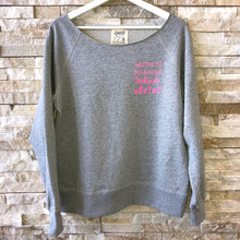 Load image into Gallery viewer, Happiest Drinking Cocktails (black or hot pink lettering) - Raw Edge Pullover