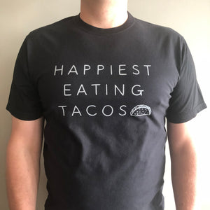 Happiest Eating Tacos - Men's 100% Cotton Jersey Black Crewneck T-Shirt