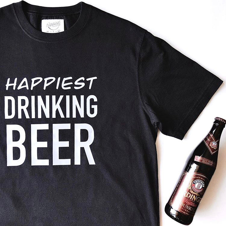Happiest Drinking Beer - Men's 100% Cotton Jersey Black Crewneck T-Shirt