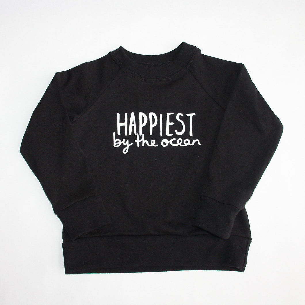 Happiest by the Ocean - Kids Organic Long Sleeved Jersey Raglan - Black