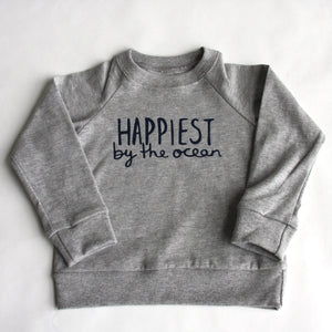 Happiest by the Ocean - Kids Organic Long Sleeved Jersey Raglan - Grey