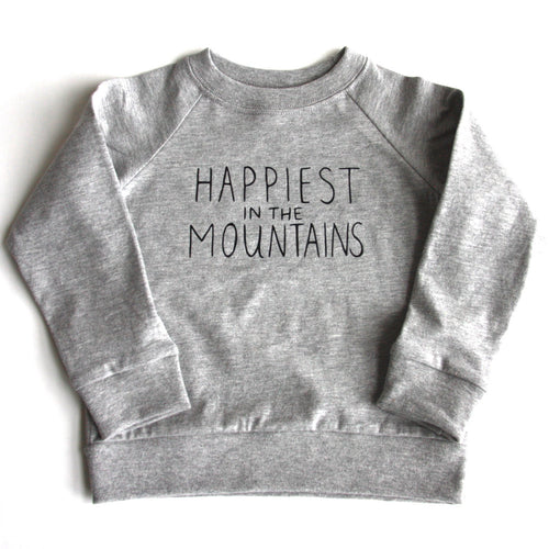 Happiest in the Mountains - Kids Organic Long Sleeve Jersey Raglan - Grey