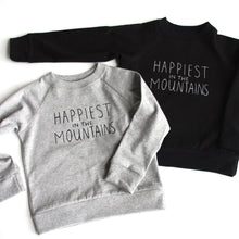 Load image into Gallery viewer, Happiest in the Mountains - Kids Organic Long Sleeved Jersey Raglan - Black