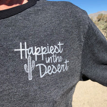 Load image into Gallery viewer, Happiest in the Desert - Men's Mixed Black Crewneck T-Shirt