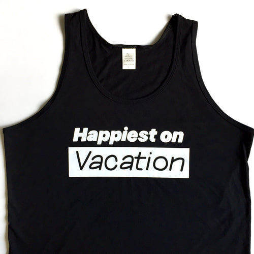 Happiest on Vacation - Bamboo + Organic Cotton Tank Top - BLACK