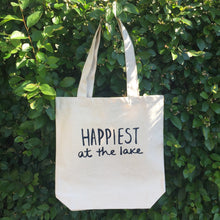 Load image into Gallery viewer, Happiest at the Lake - Tote Bag (Navy Lettering)