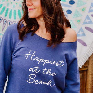 Happiest at the Beach - Raw Edge Pullover