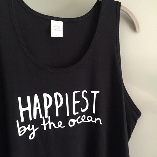 Happiest by the ocean - Bamboo + Organic Cotton Tank Top - BLACK