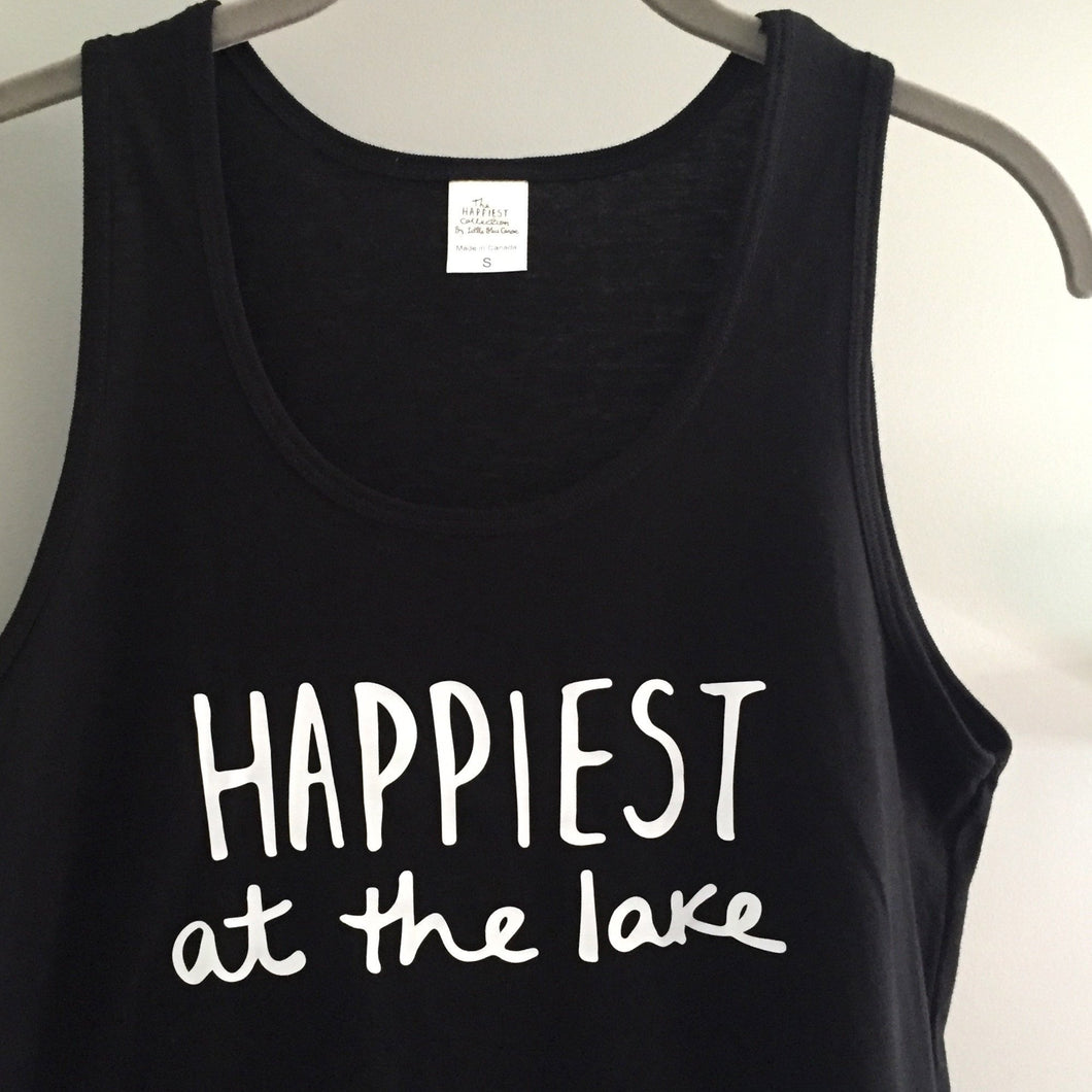 Happiest at the Lake - Bamboo + Organic Cotton Tank Top - BLACK