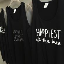 Load image into Gallery viewer, Happiest at the Lake - Bamboo + Organic Cotton Tank Top - BLACK