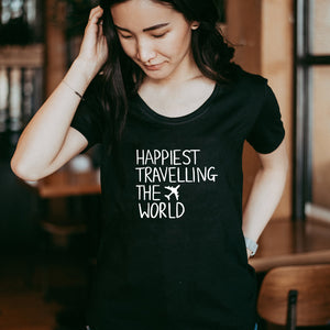 Happiest Travelling the World - Women's Black Scoop Bottom T-Shirt