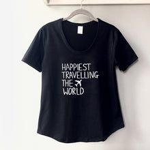 Load image into Gallery viewer, Happiest Travelling the World - Women's Black Scoop Bottom T-Shirt