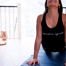 Load image into Gallery viewer, Happiest on my Mat (script font) - Bamboo + Organic Cotton Tank Top