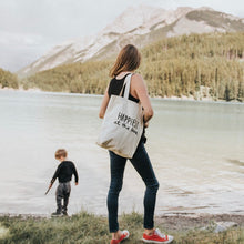 Load image into Gallery viewer, Happiest at the Lake - Tote Bag (Navy or Black Lettering)