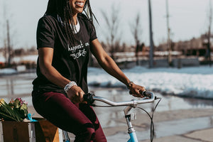 Happiest on my Bike - Women's Black Scoop Bottom T-Shirt
