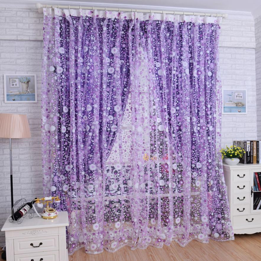 Floral Voile Door Curtain