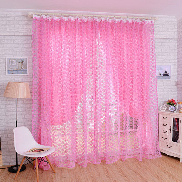 Rose Tulle Window Curtain