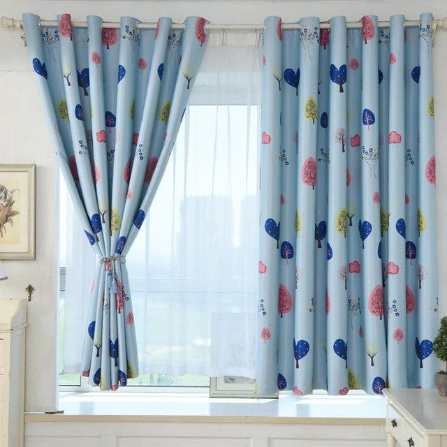 Love Tree Print Shading Curtain
