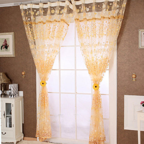 Floral Print Tulle Sheer Curtain