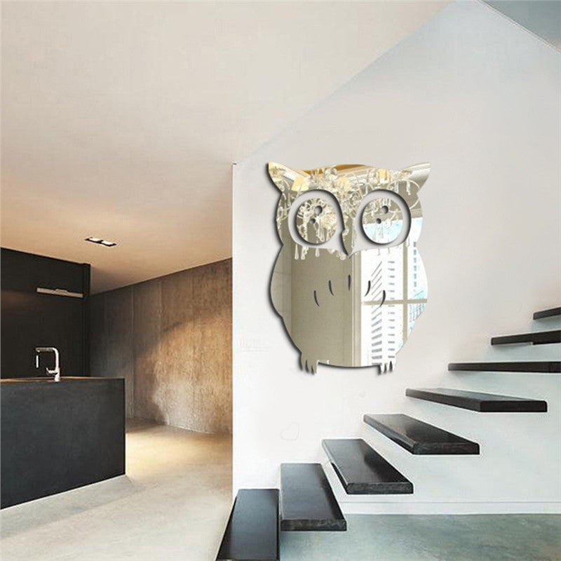 3D Owl Mirror Wall Sticker