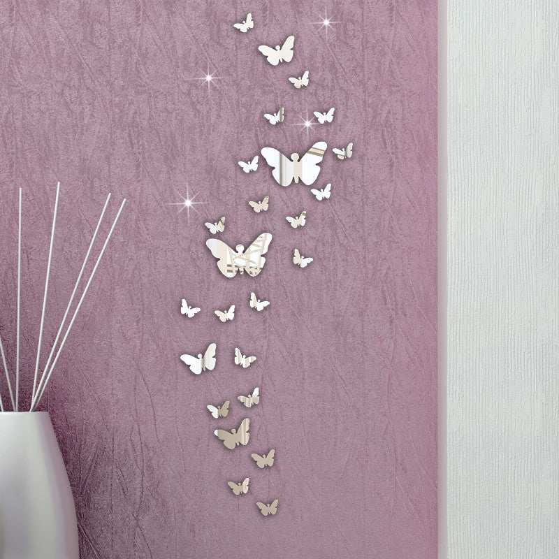 30 Pcs Butterfly 3D Mirror Wall Sticker
