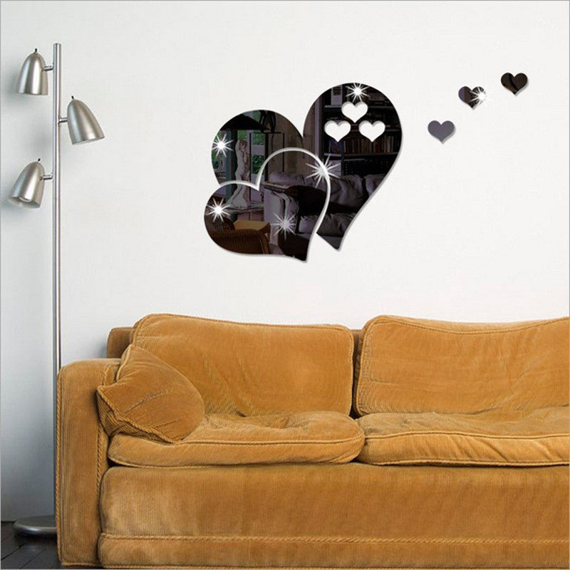 3D Mirror Love Hearts Wall Sticker