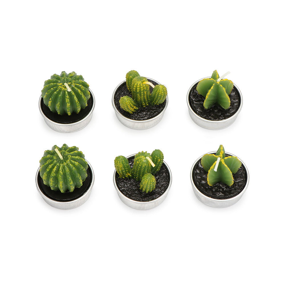 6 Pcs Cactus Candles Simulation Plant