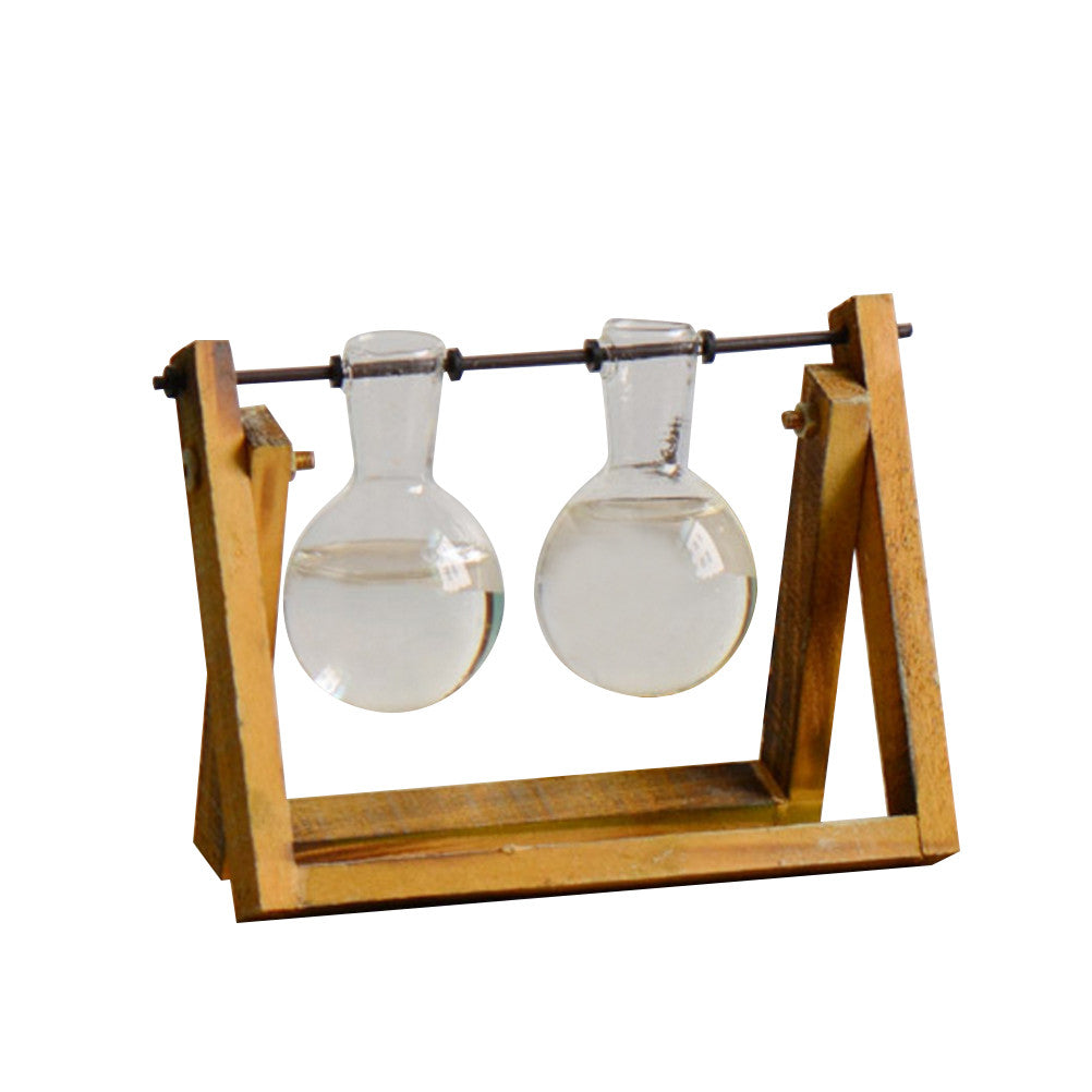 Glass Planter Bulb with Wooden Stand
