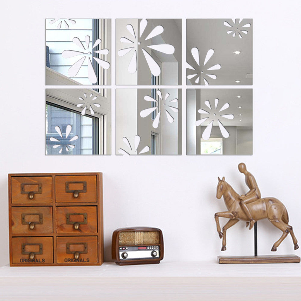 1 set/6 pcs Mirror Tile Stickers