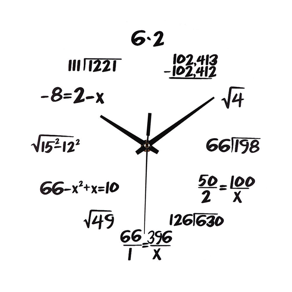 Silent Math Equations Wall Clock